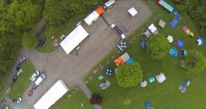 Overhead drone picture of start/finish