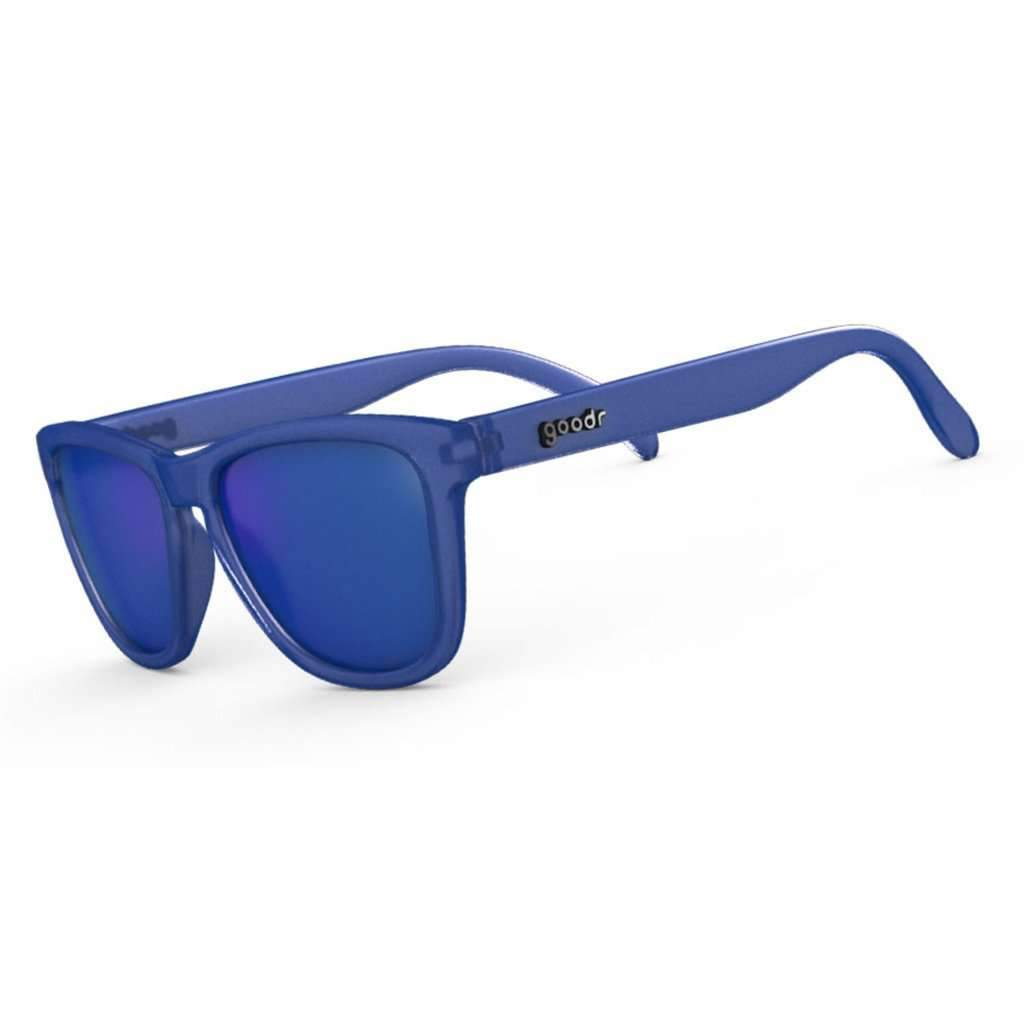 This is a picture of blue sunglasses with blue lenses.